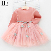 HE Hello Enjoy Kids Dresses For Girls Long Sleeve Solid Ball Gown Party Christening Dress For