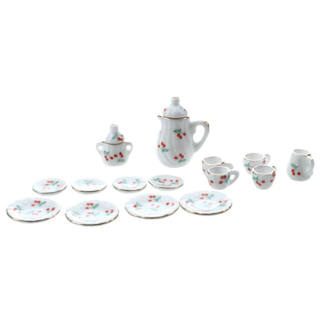 7 Pcs Purple Orchid Tea Set Dollhouse Miniatures Ceramic Kitchenware Large