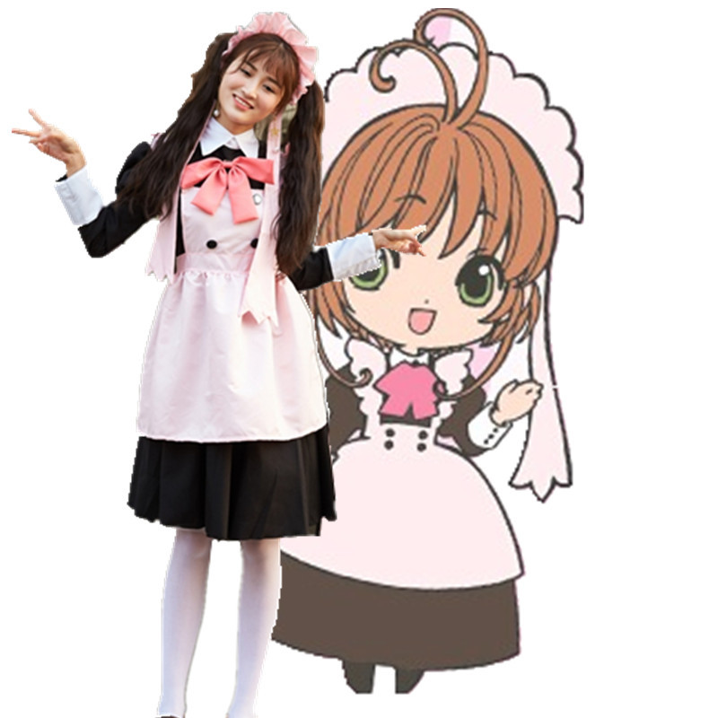 Adult Women Girl Anime Card Captor Sakura 20th Anniversary Cosplay Costume Sakura Cafe Waitress ...