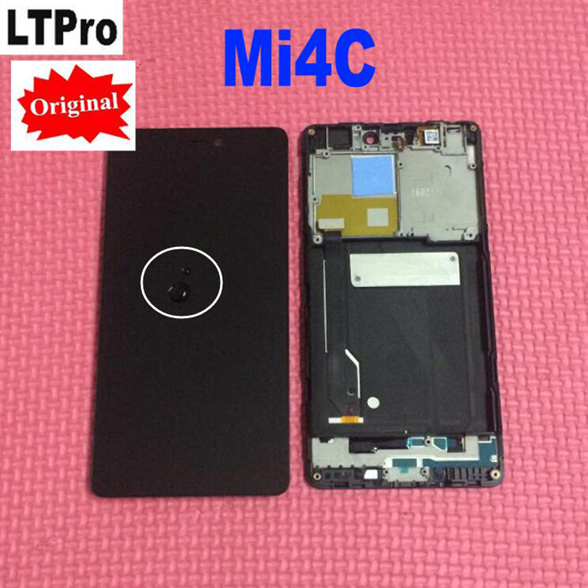 100% Original New Tested Working LCD Display Touch Screen Digitizer Assembly With Frame For Xiaomi Mi4c Mi 4c M4c Sensor Parts