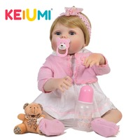 KEIUMI 23 Inch Lifelike Full Body Silicone Reborn Dolls Pure Handmade Girl Baby Toy Doll For Kid Christmas Gift Golden Wig Hair