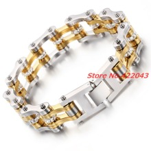9″*20mm Silver Gold Stainless Steel Bike Bracelet Men With White CZ Stone Bicycle Motorcycle Chain Link Bracelets Rock Jewelry