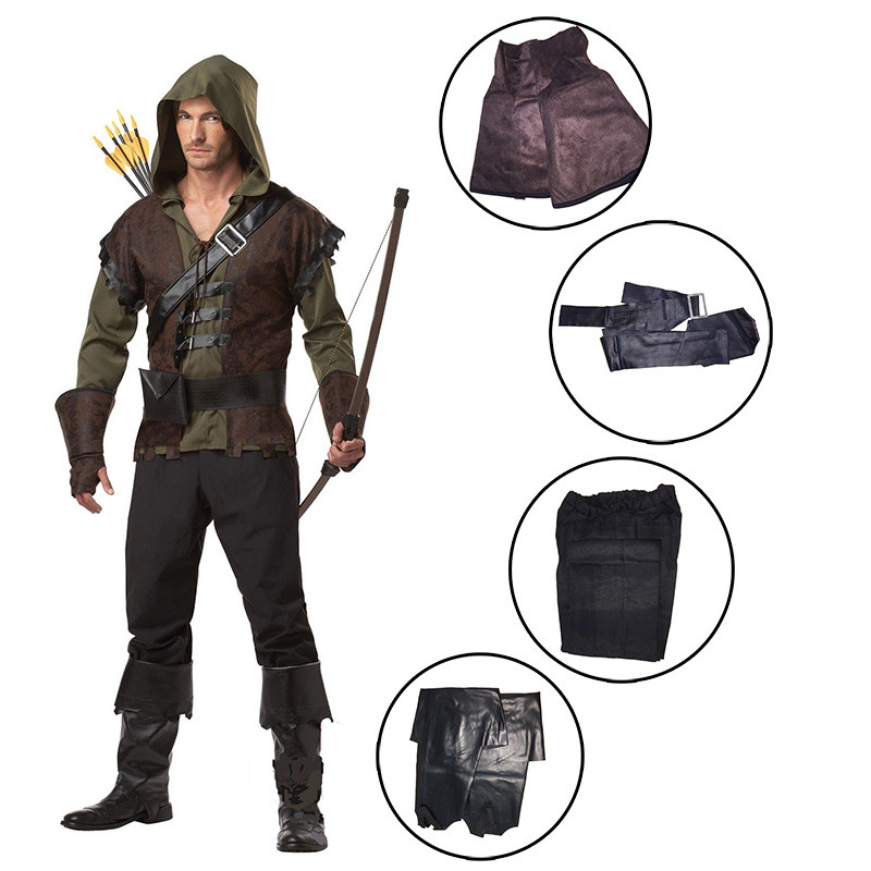 Prince Of Thieves Robin Hood Costume Adult Men Thieves Medieval Warrior Fancy Dress Brave Green Arrow Man Robin Costume Sets image