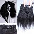 Clip in Brazilian kinky straight human hair extensions 7pcs clip in hair extensions natural black clip in hair
