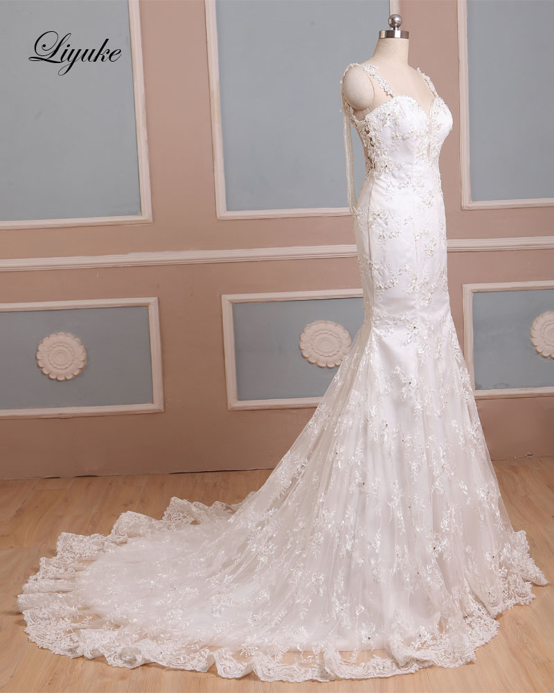 Spaghetti Straps Lace Applique Pearls Sleeveless Long Mermaid Backless Wedding Dress