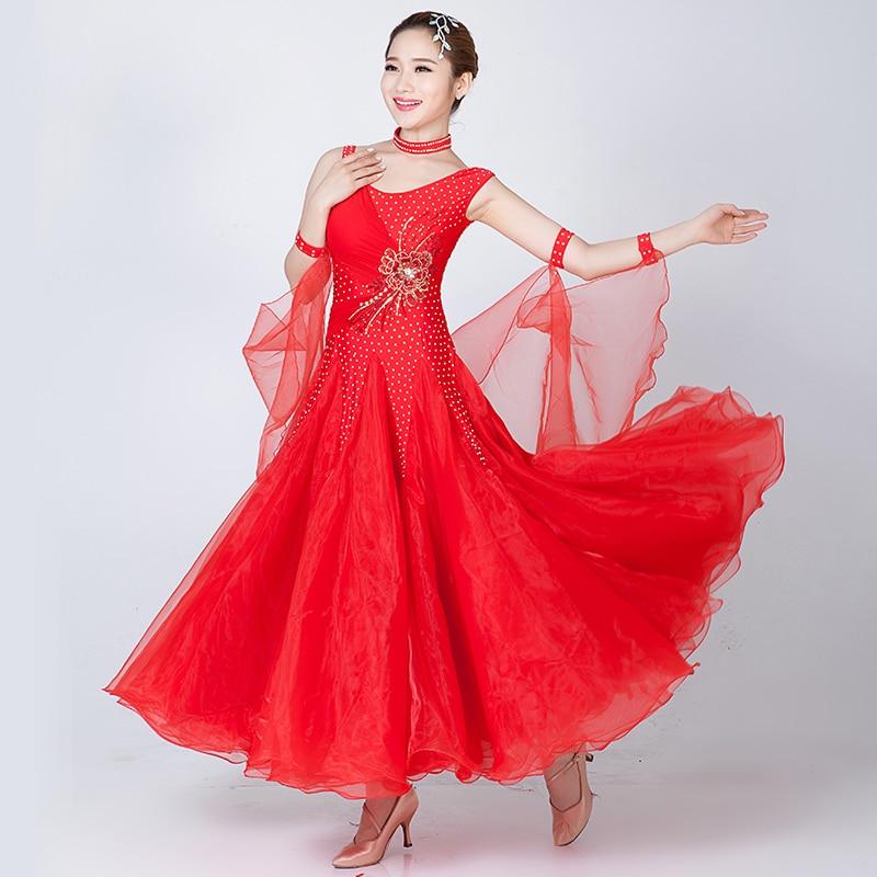 Standard Ballroom Dance Dress Women 2019 New Waltz Dancing Skirt Adult Cheap White Ballroom Competition Dance Dresses