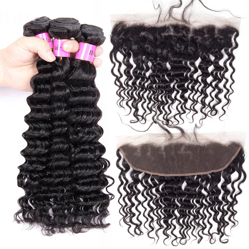 Annmode Brazilian Deep Wave Bundles With Frontal 3 Bundles Human Hair With Frontal Non Remy Hair Extension Natural Hairline