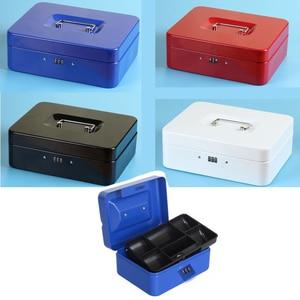 Image 4 - Przenośne bezpieczne pudełko pieniądze biżuteria schowek kolekcja Box Home School Office taca z przedziałami blokada hasła Box L 4 kolory