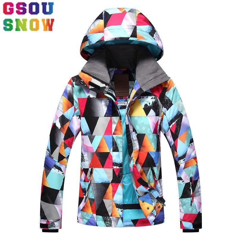 e67988ea GSOU SNOW marca chaqueta de esquí chaqueta de las mujeres chaqueta de  Snowboard barato impermeable ...