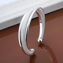 2015 new arrived 925 sterling silver jewelry  from india fashion dreamlike open mesh cuff bracelet for women' trendy promotion