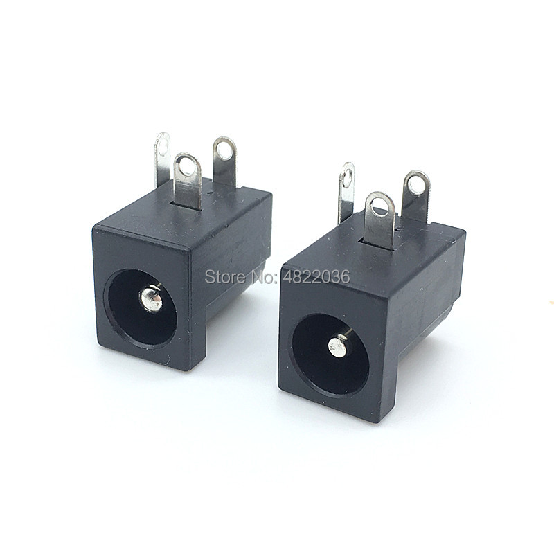 10pcs/lot DC-005 PCB Mount 5.5 X 2.1/2.5 Mm Female DC Power Jack Plug Socket Connector DC005 Black 5.5*2.1/2.5MM