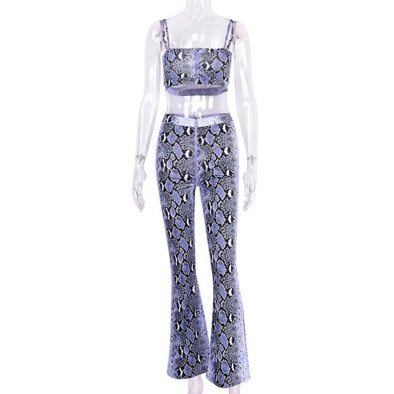 Purple Snake Skin Crop Top And Pants 2 Pieces Set 15
