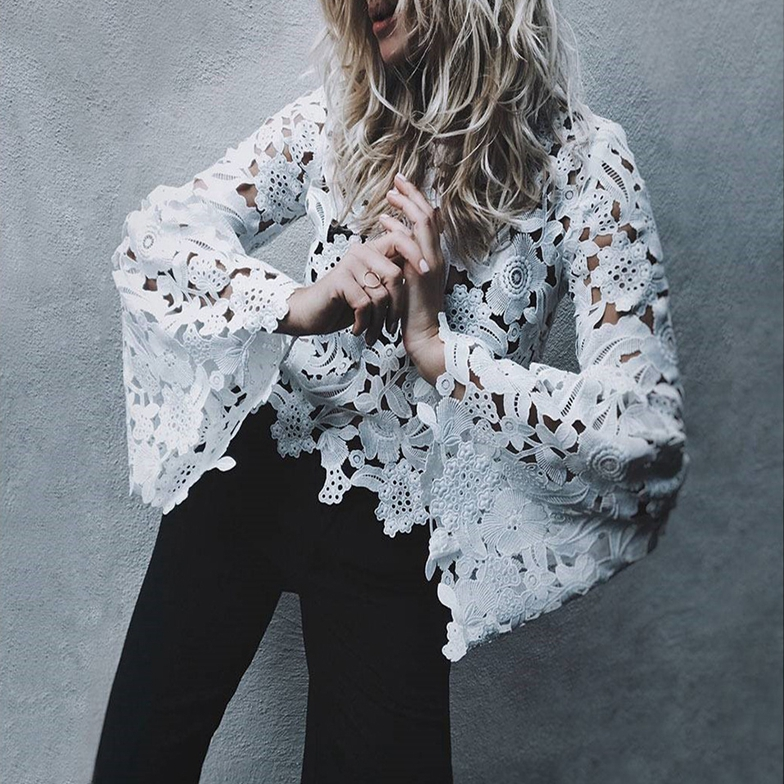 New 2018 Elegant Women Ladies Lace Hollow Out Flare Long Sleeves Blouses Loose Casual Blouse Top