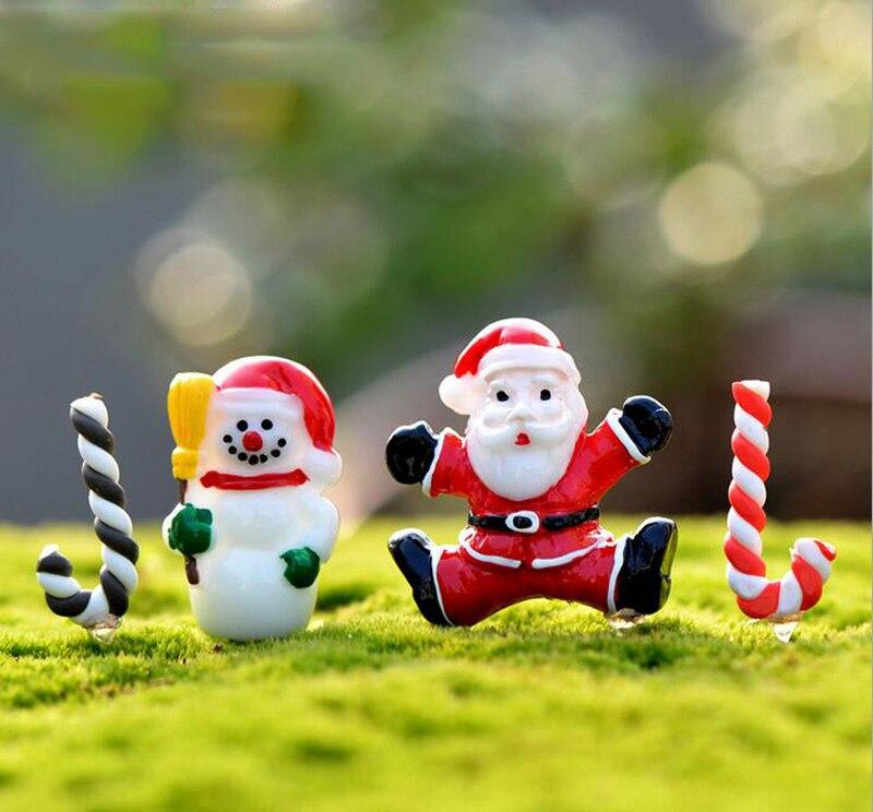 Santa Claus Snowman Crutch ChristmasDecoration Miniature Figurine Fairy Garden  Ornament Statue Love Resin Craft Kids Toy