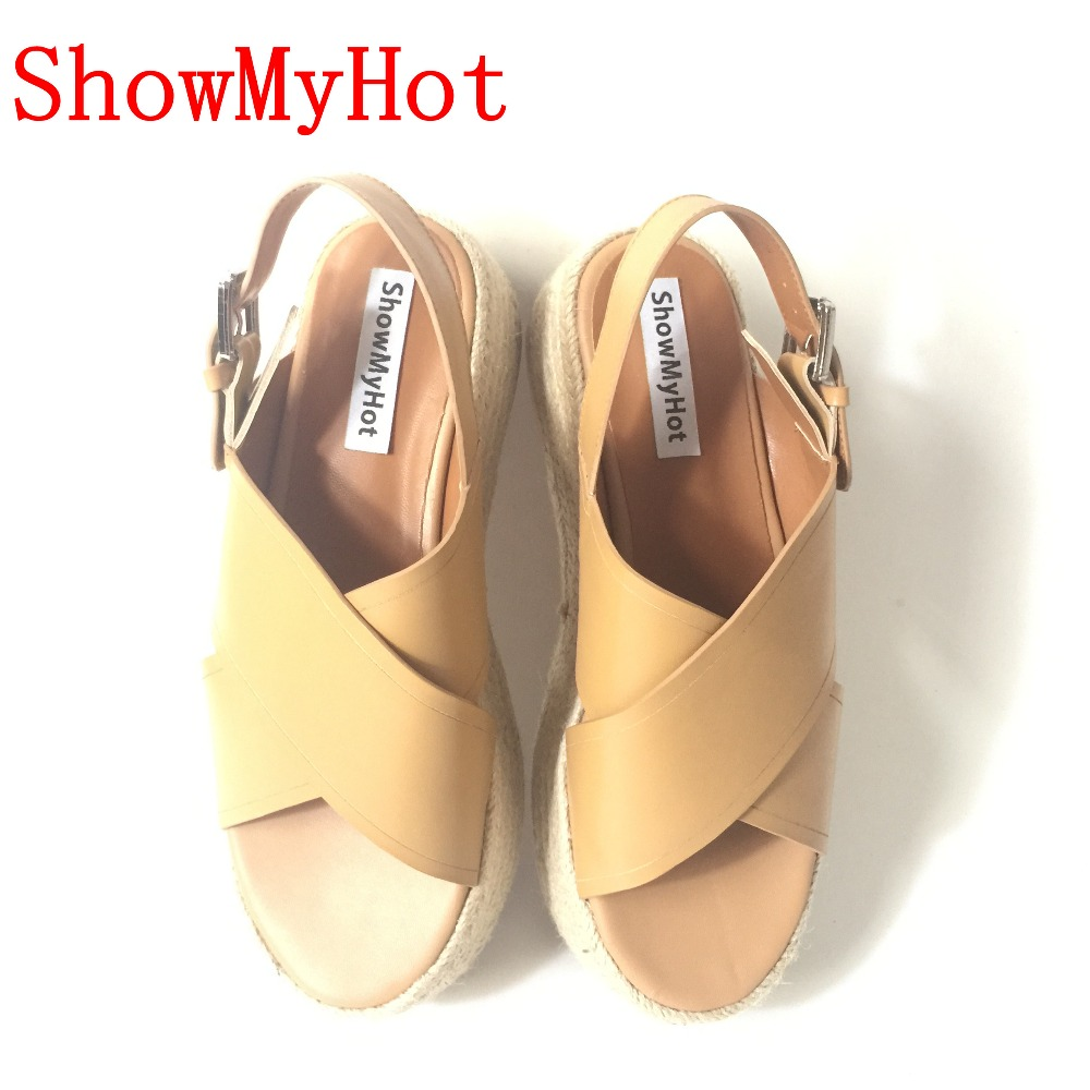 7f0147780fbea ShowMyHot Espadrille Wedge Sandals Summer Roman Bohemian Womens High Heels  Wedges Open Toe Sandals Ankle Strap Cross tied Shoes-in Middle Heels from  Shoes ...