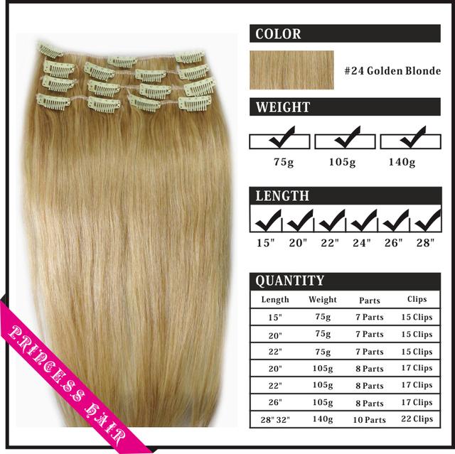 """20 """" - 26 """" de Remy cabelo clipes retas em extensões 105 g Natural loira # 24"""