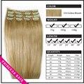 """Venta al por mayor 20 """" - 26 """" mujer Remy pelo humano recto clip en extensiones de cabello 8 unids 105 g Natural Blonde #"""