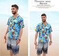 Nova Chegada Amantes de Manga Curta-Camisa Havaiana Homem E Mulheres Floral Ocasional Camisa Praia Camisa Masculino Frete Grátis J57