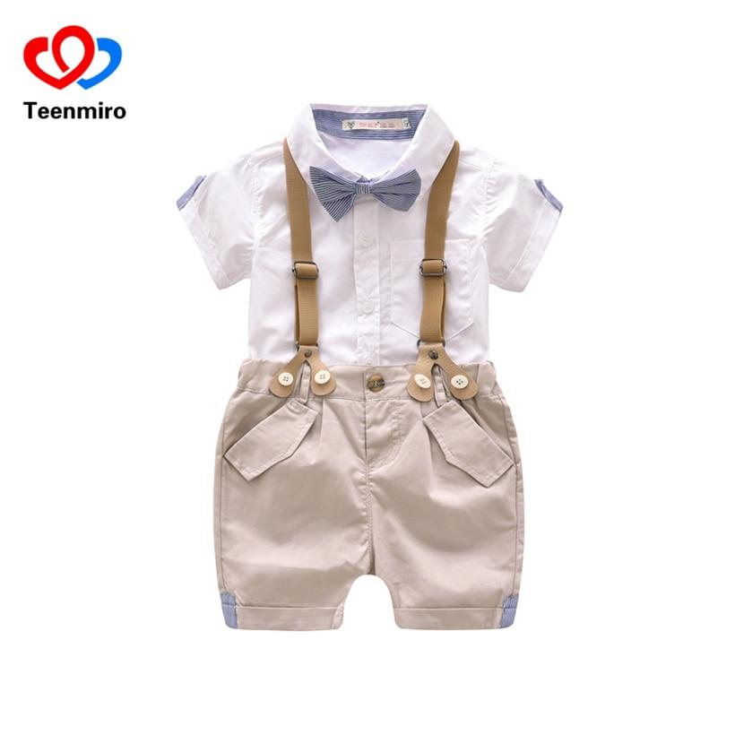 Для маленьких мальчиков одежда джентльмена рубашка + шорты Комбинезоны для мальчиков дет ...