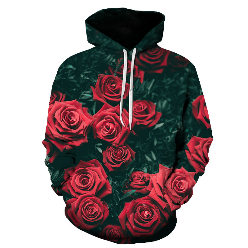 The Latest Hoodie With 3D Printed Rosa Harajuku/flower Pullover For Women And Casual Men, 2018 Large Sweatshirt