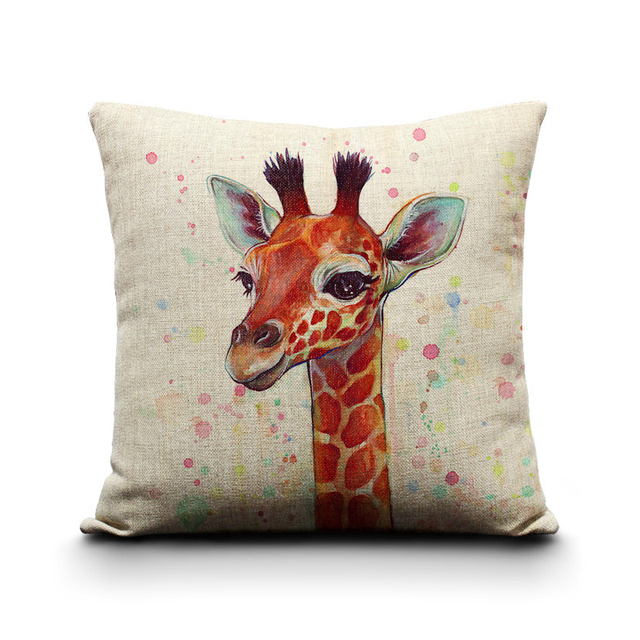 Customized Watercolor Cushions Home Decor Hand Painted Refinement Giraffe Sofa Cushion Linen Comfortable Seat