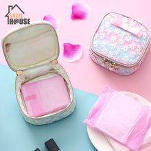 Snailhouse Girl Heart Cute Mesh Embroidery Sanitary Napkin Coin Earrings Headset Multi-function Storage Bag Organizer