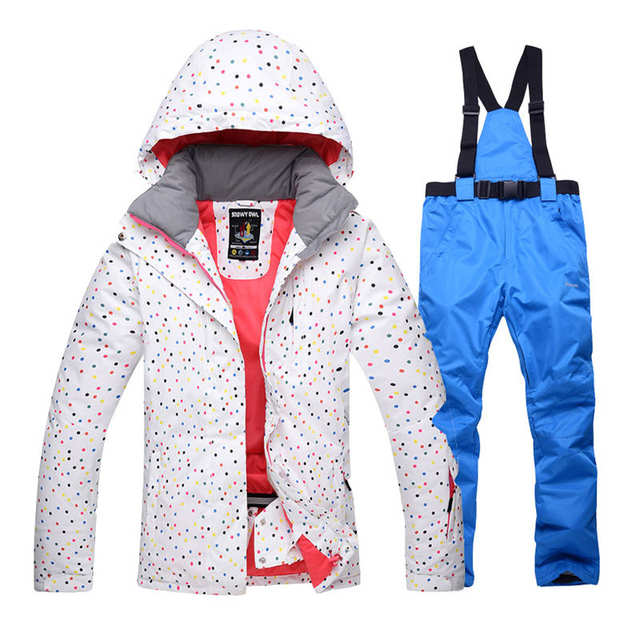 White Dot Snow Suit jackets Women Snowboard Clothes Winter Waterproof  Thicken Costumes Outdoor Ski Suit Sets e32205a69