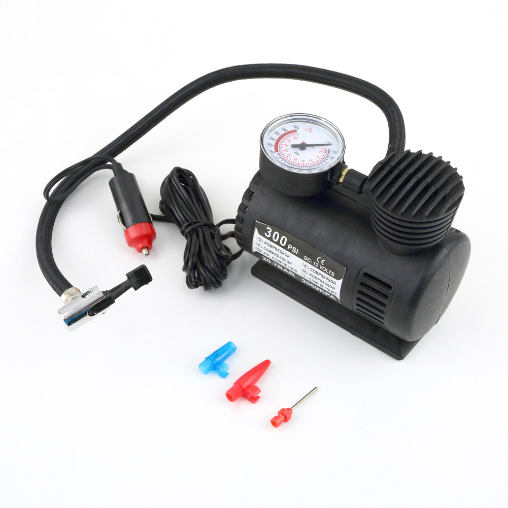 High Quality Portable Versatile 12V 60W Auto Tire Inflator Pump 300 PSI Car Electric Air Compressor Black Wholesale