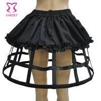 Czarny 4 Hoops PU i Wzburzyć Pościel Płaskim Bone Halki Dla Gothic Lolita Spódnica Halka Ślubna Steampunk Gorset Spódnice