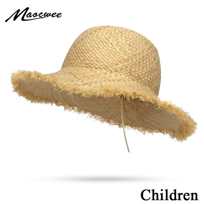 Natural Large Wide Brim Raffia Straw Children Hats Woven Circle Beach Girl Cap Summer Hollow Out Big Straw Child Hat 2019