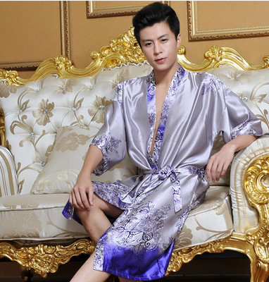 Bata de seda de Los Hombres de Bata de Satén de Seda de Los Hombres Bata Bata Kimono ropa de Dormir Para Hombre Ropa Interior Para Hombre Salón Kimono bata