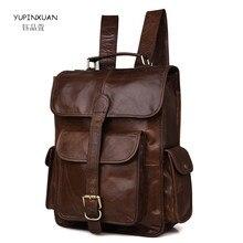 YUPINXUAN Mens Vintage Backpacks Genuine Leather School Bags Teenagers Real Leather Mochila Estudiantes Chile Cowhide Travel Bag