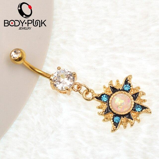 Женское кольцо на пупок с голубым кубическим цирконием висячее