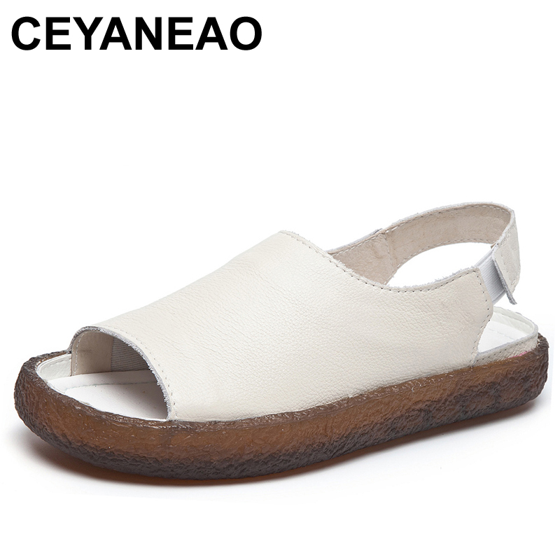 CEYANEAO2019 New Summer Genuine Leather Women Flats Sandals Casual Slip On Summer Shoes Woman Retro Female