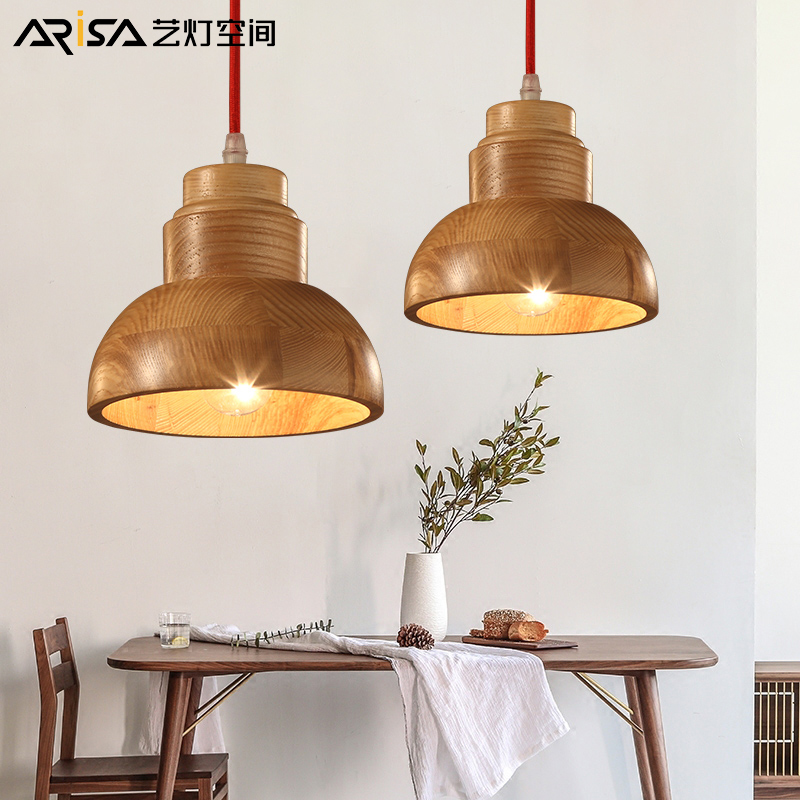 LED Nordic Lighting Cafe hanging lights Solid wood craft Fixtures restaurant lamps bedroom Pendant Lights