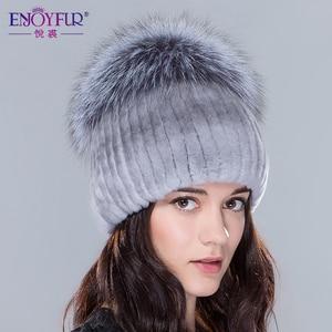 Image 3 - Женские меховые шапки ENJOYFUR, вязаные шапки из натурального меха Рекс и кроличьего меха серебристой лисы на зиму