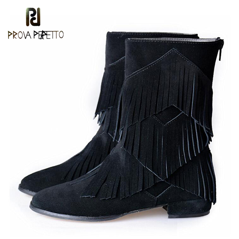 Prova Perfetto Tassel Ankle Boots Suede Leather Flat Comfortable Nice Boots Trendy Fringe Martin Bootie All Match Style