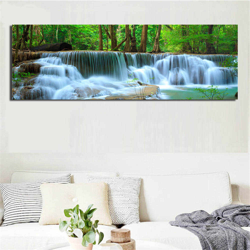 Modern Landscape Canvas Decor Paintings Forest Waterfall Posters and Prints Flower Artwork Seascape Wall Picture for Living Room