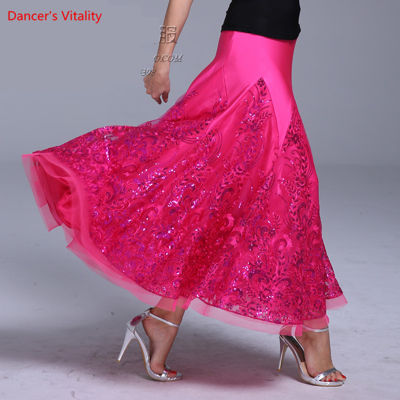 High End Embroidery Ballroom Dance Skirts For Women Stage Performance Clothing  Standard Waltz Latin Dance Practice Costumes