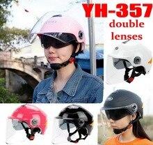 2016 новый летний YOHE с двумя объективами пол-лица мотоциклетный шлем ABS мотоцикл электрический велосипед шлемы может отражающей ночной YH357A