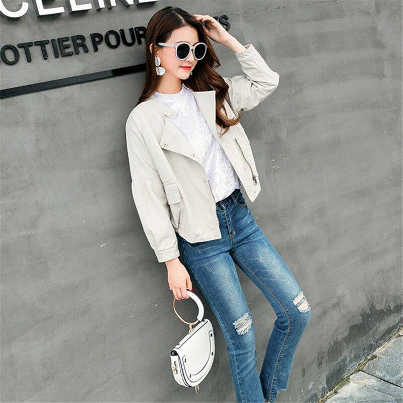 rose Veste En Beige Bouton 2018 Femmes Streetwear Pu Beige Bomber noir Courte Cuir Printemps Parkas Moto Coréen Rose Fxq7wT