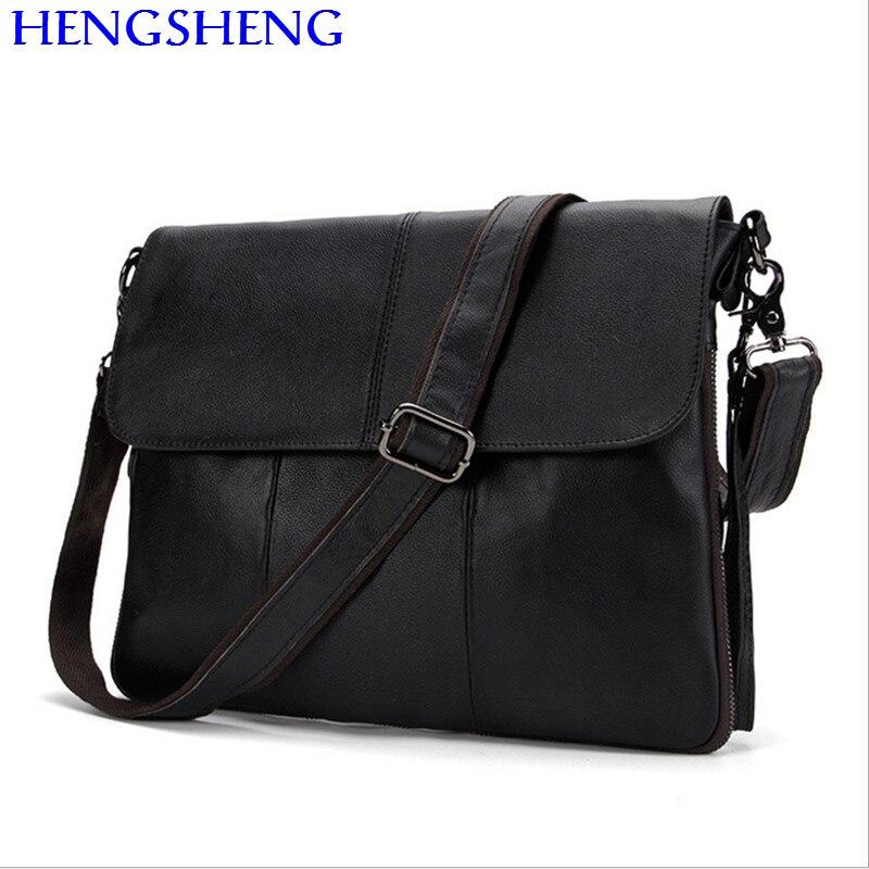Hengsheng Hot sale cross men font b leather b font messengers bag with quality genuine font