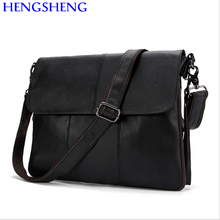 Hengsheng Hot sale cross men leather messengers bag with quality genuine leather male shoulder bag of cow leather men bags