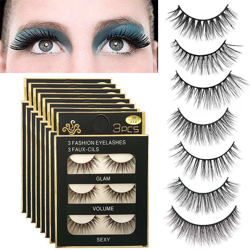 ELECOOL New 3 Pair Natural Handmade False Eyelashes Black Long 3D Eyelash Fake Eye Lashes Extension Tools Makeup Accessories