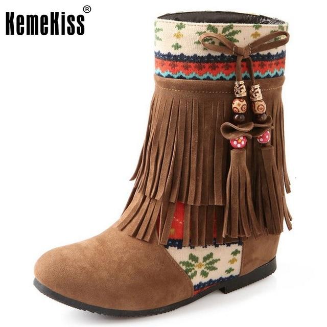 Women's Fashion Beaded Tassels Flat Mid Calf Booties With Heels Inside