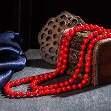 Modne naturalne koral naszyjnik z 8mm czerwony koral koraliki wiązane długi naszyjnik Premium fine jewelry dla matki prezent