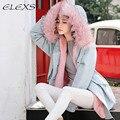 Elexs Большой Меховой Капюшон Розовый Шерсть Лайнер Теплая Зима Женщины Пальто TSP3315