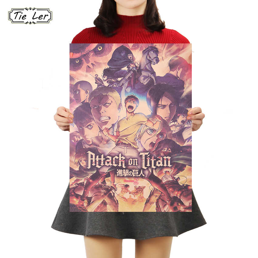 TIE LER Japanese Anime Attack on Titan Poster Classic Cartoon Kraft Paper Wall Sticker Bar Cafe Decorative Paintings 50.5*35cm