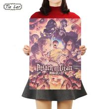 TIE LER Japanese Anime Attack on Titan Poster Classic Cartoon Kraft Paper Wall Sticker Bar Cafe Decorative Paintings 50.5*35cm