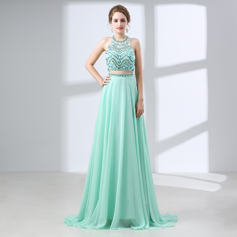 Hot Mint Green Beaded Evening Dress 2018 Rhinestone Two Pieces Long ...